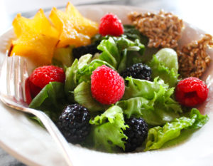 Berry Salad with Maple Seed Crispies